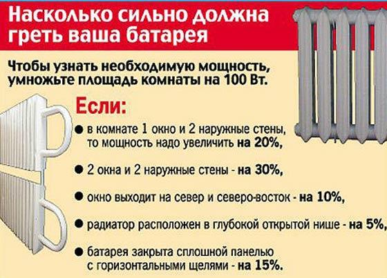 Расчет количества секций в приборе отопления